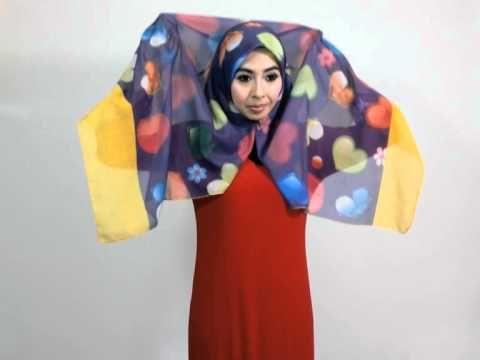 hijab tutorial : Bawal batik paisley by azie fazieda - YouTube