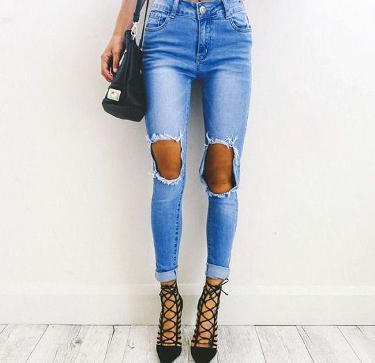Spodnie Damskie Kolekcja Wiosna 2016 Fashion Ripped Jeans Outfits Verano