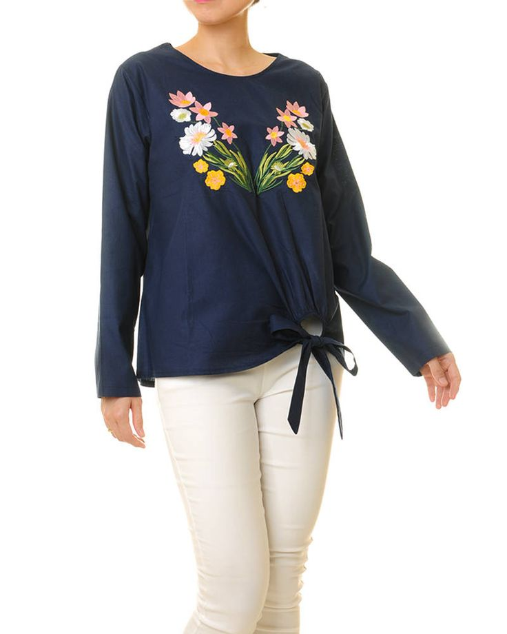Embroidered Blouse | Long Sleeve Top | Navy Blouse Embroidery Blouse Long Sleeve Blouse | Floral Embroidered Shirt | Peasant Blouse S/M 8161 by Tailored2Modesty on Etsy