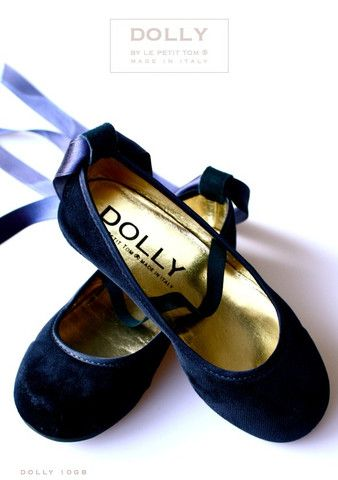 DOLLY by Le Petit Tom ® BALLERINA'S 10GB NAVY VELVET gold leather lining