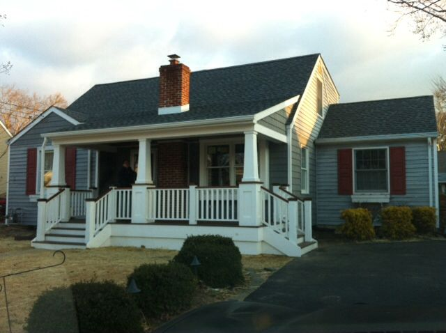 My very own 1950 39 s cape cod with a craftsman style front - Homes front porch designs pictures ...