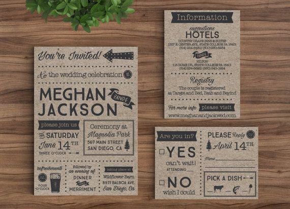 Wedding Invitation Template Printable Rustic Kraft Paper, Hipster Casual Country DIY by Bejoyfulpaper