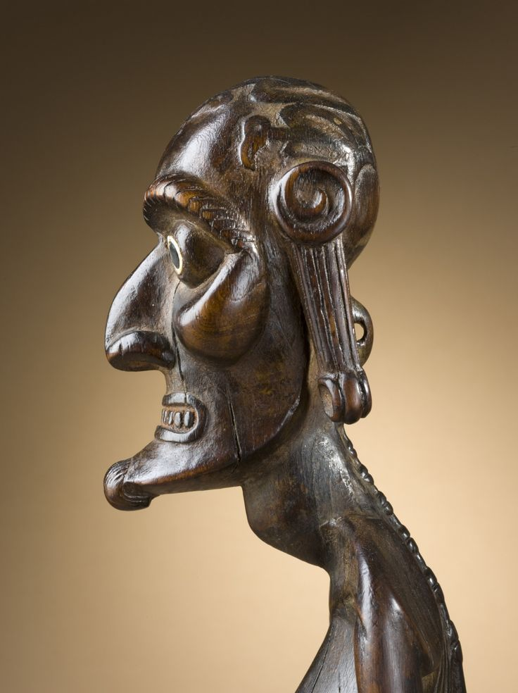 Rapa Nui culture Ancestor Figure (called a moai kavakava) made of wood, bone, and obsidian. Easter Island, circa 1830