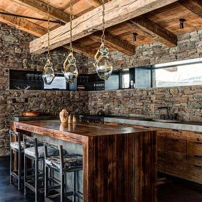 We like the refrigerator. . . #refrigerator #barstools #kitchendesign #kitchen #cabinliving #cabinlife #timberframe #postandbeam #stonework #vacation #vacationvibes #customhomes #architecture #refrigerator #subzero #family