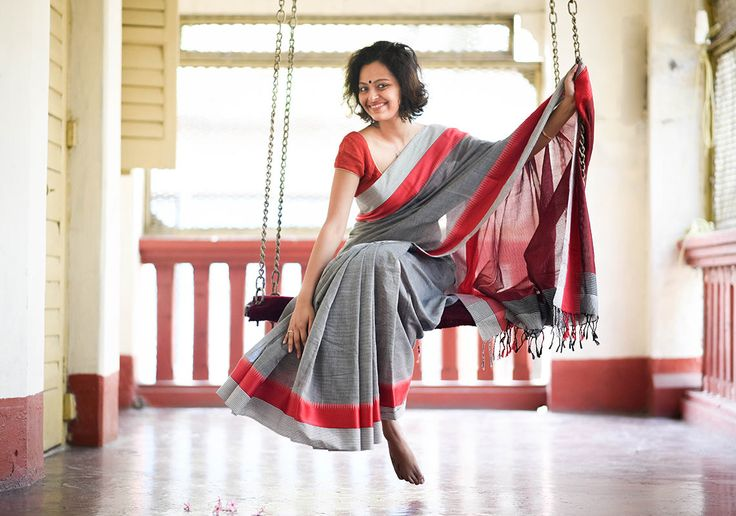 Cotton Sarees - Grey With Red And BlackWhite Stripe Border By Suta - PC - 15708 - 1