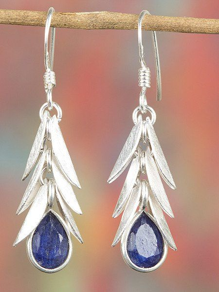 Dangle Earrings – 925 Sterling Silver Sapphire Earring BJE-346-SA – a unique…
