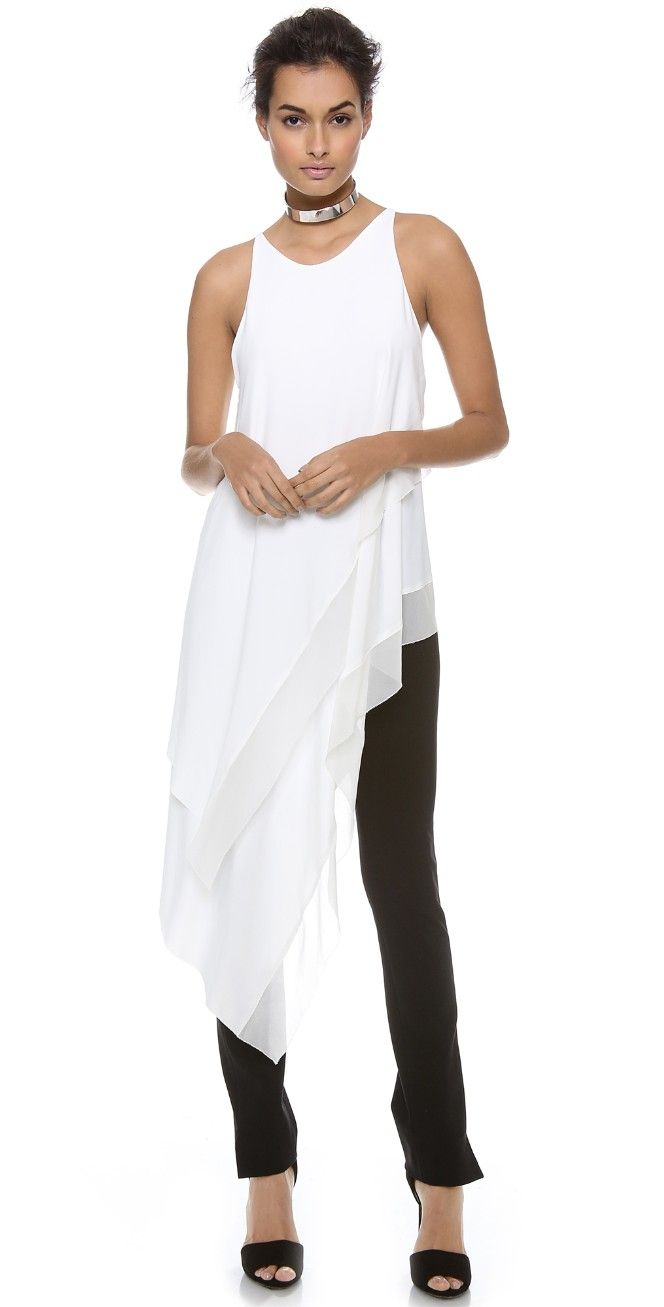 Donna Karan New York Sleeveless Asymmetric Top | SHOPBOP