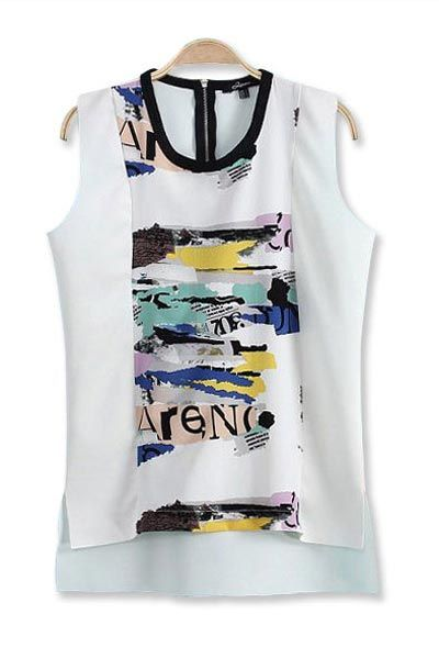 Ink Print Stitching High Low Vest