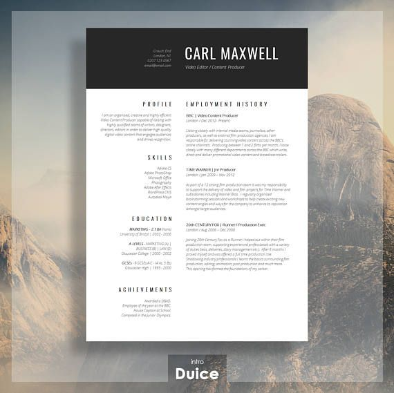 Professional Resume Template  CV Template  Resume Advice