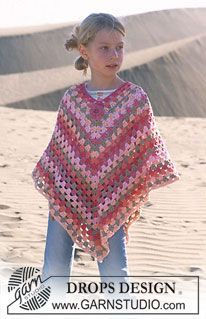 Little Sophie - DROPS Girl's Crocheted Poncho in Paris with blossom in Safran - Free pattern by DROPS Design