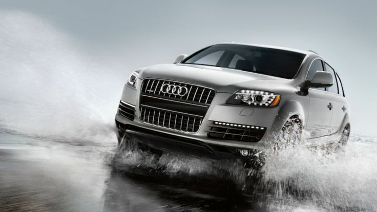 Audi Q7 shown in Ice Silver metallic with available equipment. Find more #Audis at www.carsquare.com #germanauto #european #auto #Q7