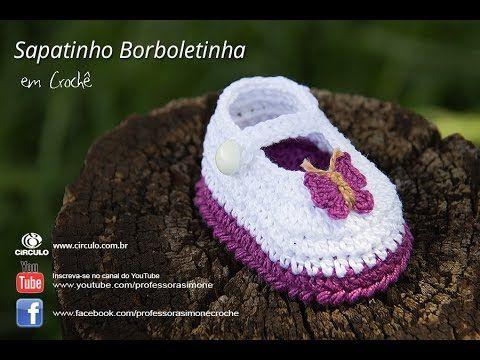 Sapatinho em Crochê Borboletinha - Professora Simone - Ateliê do Crochê