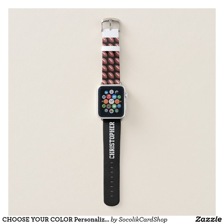 CHOOSE YOUR COLOR Personalized Football with Name Apple Watch Band CHOOSE YOUR COLOR custom Apple Watch Strap! Your name in large white letters on the strap (you can still see name when watch is on). Sample is black, but you can easily customize to color of your choice. Footballs fill one half of the strap. Easy to change or delete example text. All Rights Reserved © 2017 Alan & Marcia Socolik.