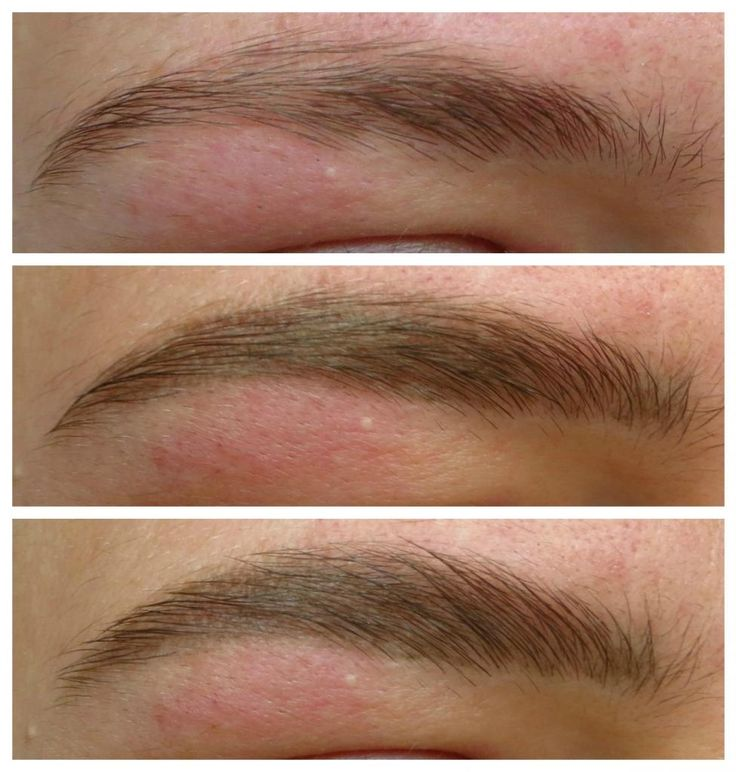 Top: natural brow  Middle: Longlasting brow definer  Bottom: Longlasting brow definer & brow filler perfecting and shaping gel