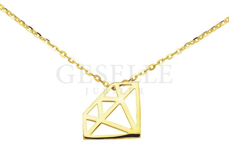Urocza złota celebrytka z diamentem - doskonała na prezent!