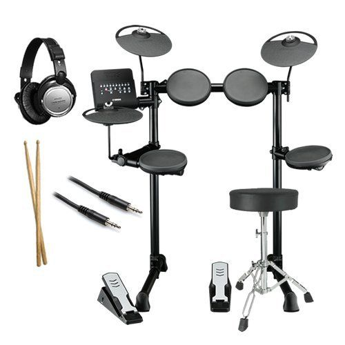 """Yamaha DTX400K Electronic Drum Set ESSENTIALS BUNDLE w/ Drum Throne by Yamaha. $519.99. Yamaha Electronic Drum Set BUNDLE including the Yamaha DTX400K Electronic Drum Set, Drum Throne, Stereo Headphones, 1/8"""" Stereo Audio Cable, and Drum Sticks. The DTX400 series electronic drums bring Yamaha quality and technology to a new level of affordability. The DTX400K is powered by the DTX400 module that features 169 professional acoustic drum and percussion sounds with Accent A..."""