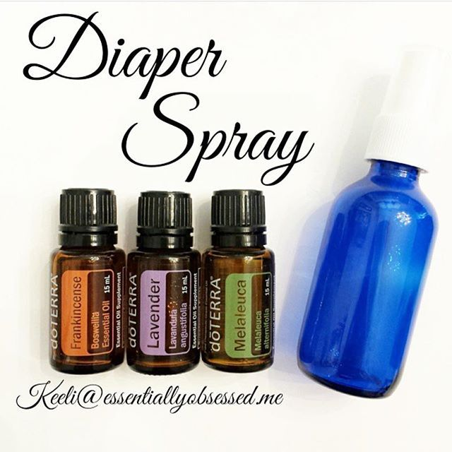 This spray makes it so easy to use at every diaper change as it is a quick spritz as opposed to having to smear on a thick cream.  Diaper Spray combo: 5 drops Frankincense 10 drops Melaleuca 10 drops Lavender Add a tablespoon of Fractionated Coconut Oil and top