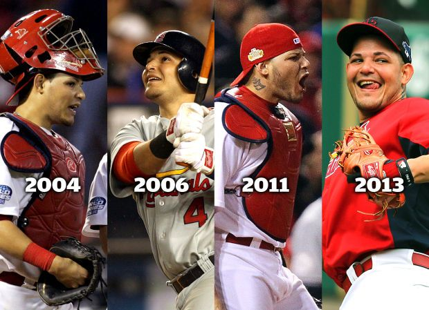 When Molina starts Game 1 of this year's World Series on Wednesday at Fenway Park, he'll appear in his fourth World Series, the only player of this modern era to do so. In the 108 previous World Series, only eight Cardinals have played in as many as four World Series with the franchise, and Molina is the first to do it since 1946, when Stan Musial and the Swifties defeated, yes, Boston in seven games. Photo courtesy of St. Louis Post-Dispatch.