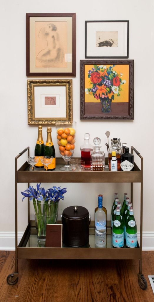 artful bar cart. styling by Centered by Design. photo by Joe Tighe Photography