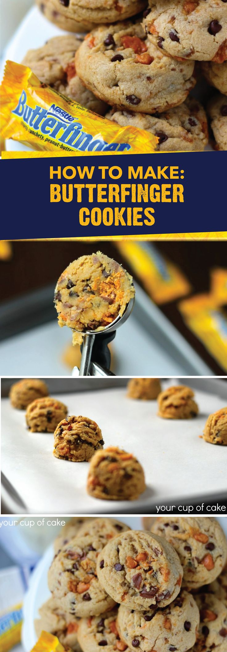 Rich, chewy, and oh-so delicious, these Butterfinger Cookies are almost too good to be true! BUTTERFINGER® Fun Size candy bars add a crispety, crunchety, peanut-buttery flavor to this classic dessert recipe. Serve these homemade cookies with a cold glass of milk for the ultimate way to end your day.