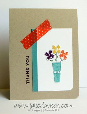 Stampin' Up! Pictogram Punches Thank You Card #stampinup www.juliedavison.com