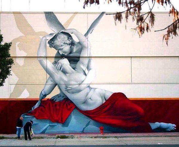 New 'Eros & Psique' Street Art wall by Man O Matic found in Spain #art #graffiti #mural #streetart