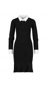 Zwart business jurk met plissé-effect