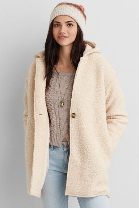American Eagle Outfitters AEO Hooded Cocoon Coat