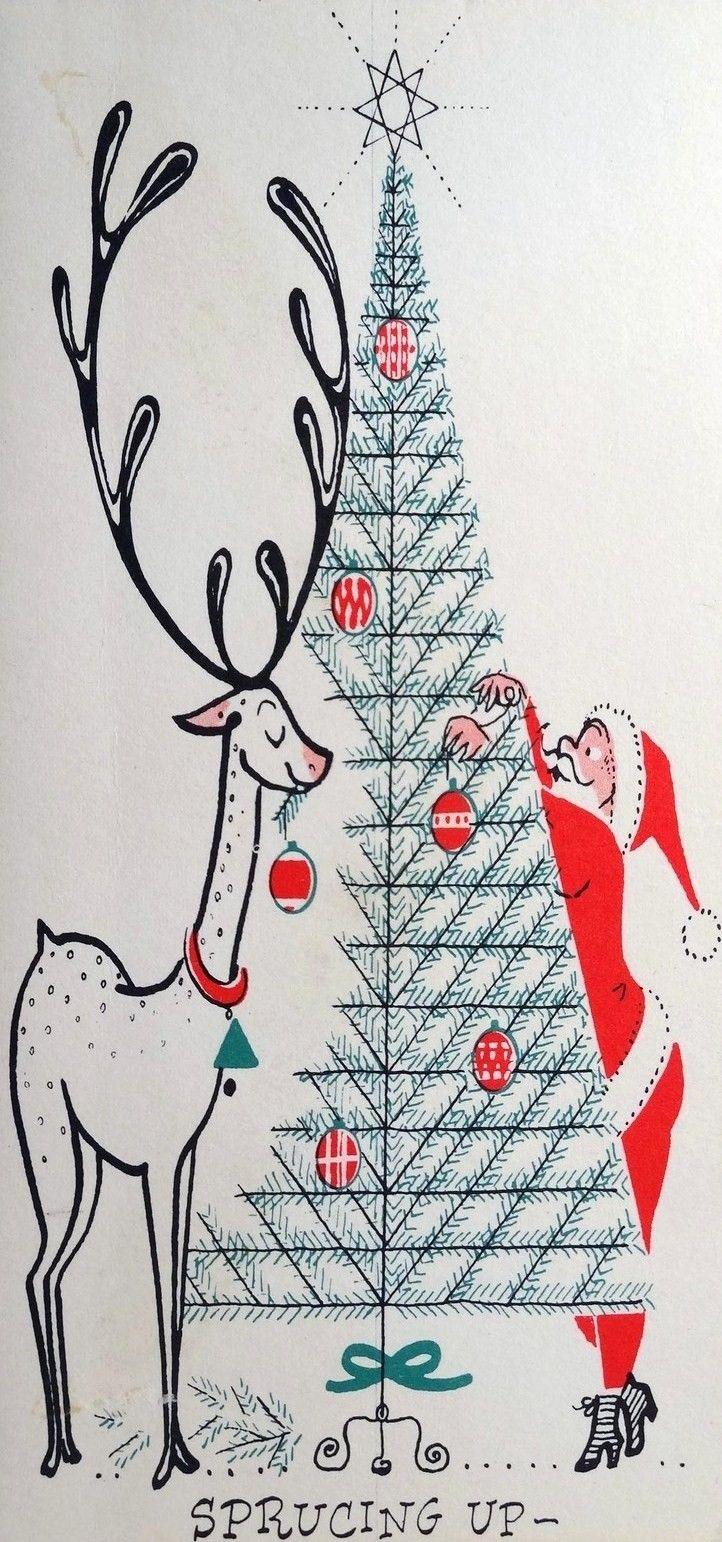 Mid Century Christmas card - Santa and reindeer decorate a Christmas tree