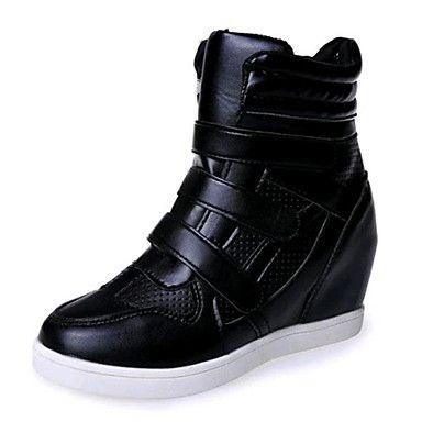 Mujer-Tacón+Cuña-Cuñas-Zapatillas+de+deporte-Casual-Semicuero-Negro+/+Blanco+–+EUR+€+22.04