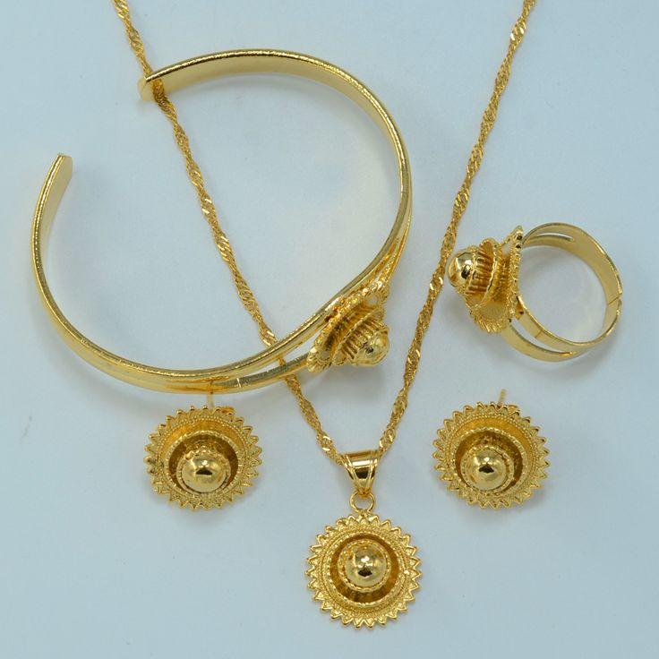 Gold Plated Ethiopian Jewelry set Bride Wedding Pendant Necklace Bangle Earring Ring African Eritrea Habesha sets #044806