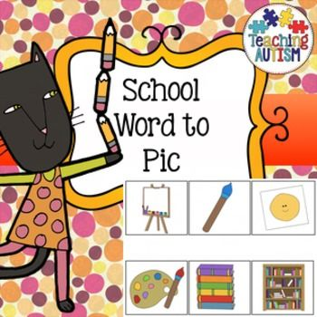 Back to School /  Equipment / Reading Strategies / Word to PicLaminate the picture as a page to use as a board. Cut out and laminate the box words. Pupils have to match the words to the pictures. Excellent at working out if students are able to recognize object names and how well they can read even if they are non-verbal.