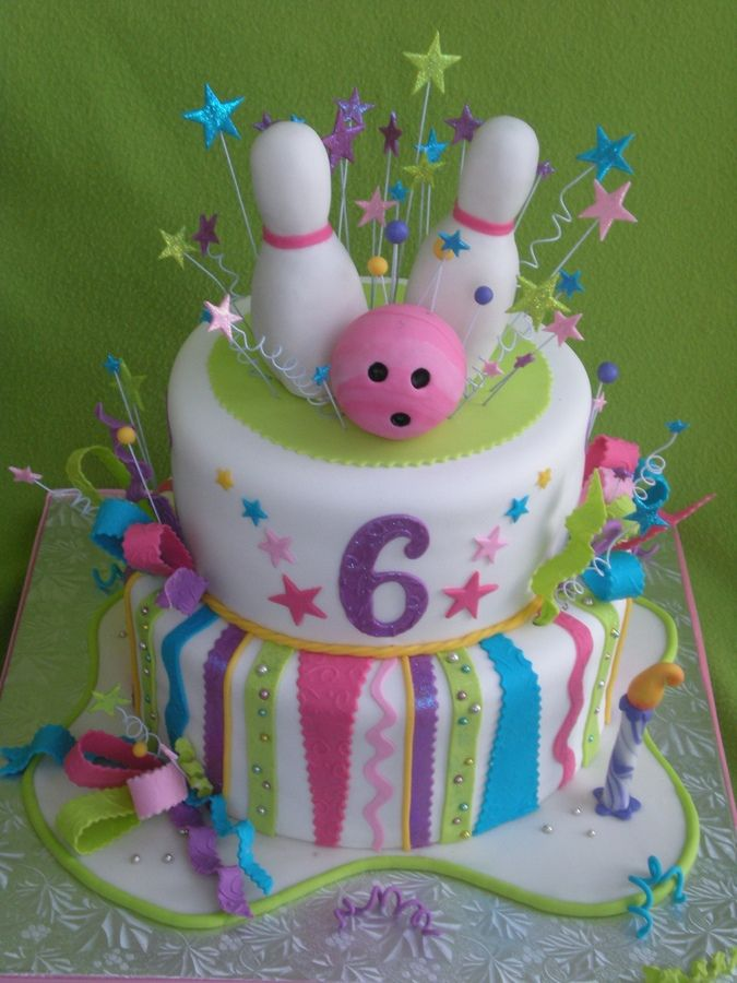 This was a cake that I made for my daughter's 6th birthday.  Her party was at a bowling alley.  Everything is edible. TFL