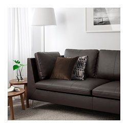 IKEA - STOCKHOLM, Sofa, Seglora dark brown, , Highly durable full-grain leather which is soft and has a natural look and feel.Full-grain leather breathes well and the natural variations in the hide are visible because it's treated with only a light surface coating for protection.The sofa will acquire a beautiful patina, because full-grain leather becomes softer and gets a darker tone with time.The seat and back cushions provide comfortable support for your body and easily regain their shape…