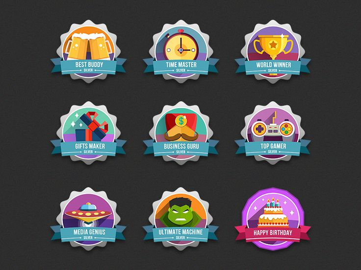 Set of Colored & Bright Badges for New Game.