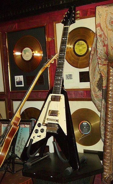 Jimi Hendrixs' custom made Gibson Flying V guitar, which he called, Flying Angel. Currently in the Hard Rock Cafe Museum, London, England.