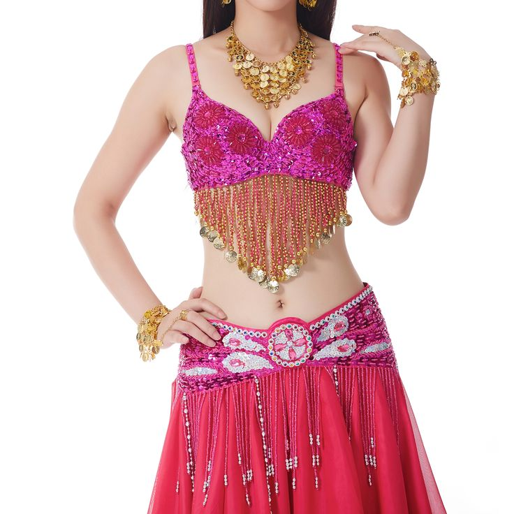 Opentip.com: BellyLady Sparkling Belly Dance Tribal Bra Top, With 6 Sequined Flower