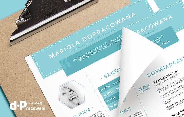Mariola Dopracowana - szablon CV wersja turkusowo-miętowo-zielona