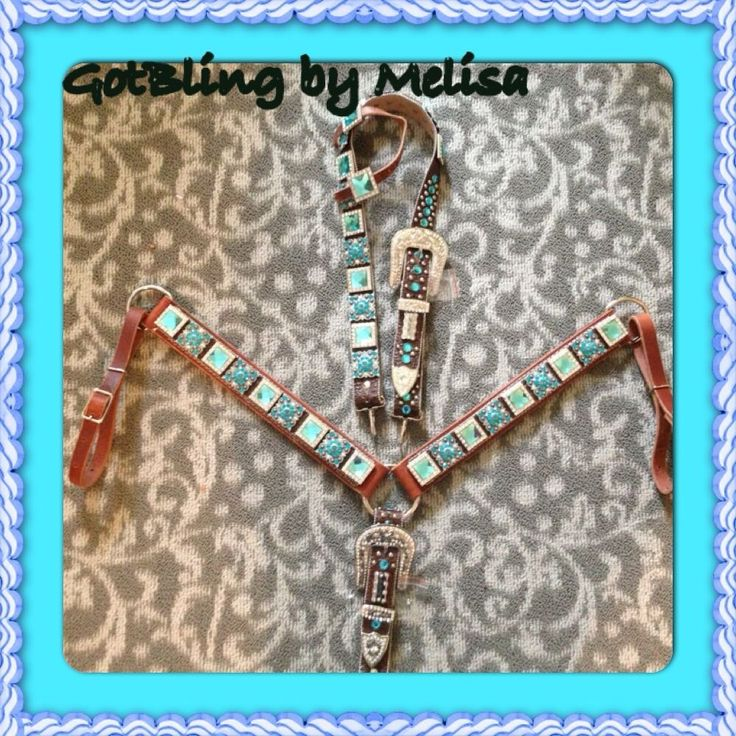 Bling Horse Tack Set - Turq. Another pic of the set