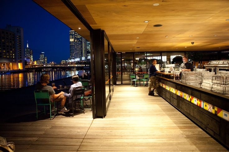 The Boatbuilders Yard. Melbourne. South Wharf. Outdoor bar. Indoor Bar. River and City views.