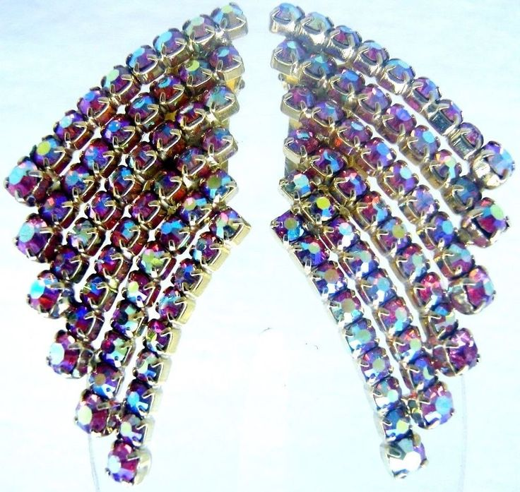 CLIMBER RHINESTONE EARRINGS LARGE COLOR CHANGER IRIDESCENT VINTAGE JEWELRY