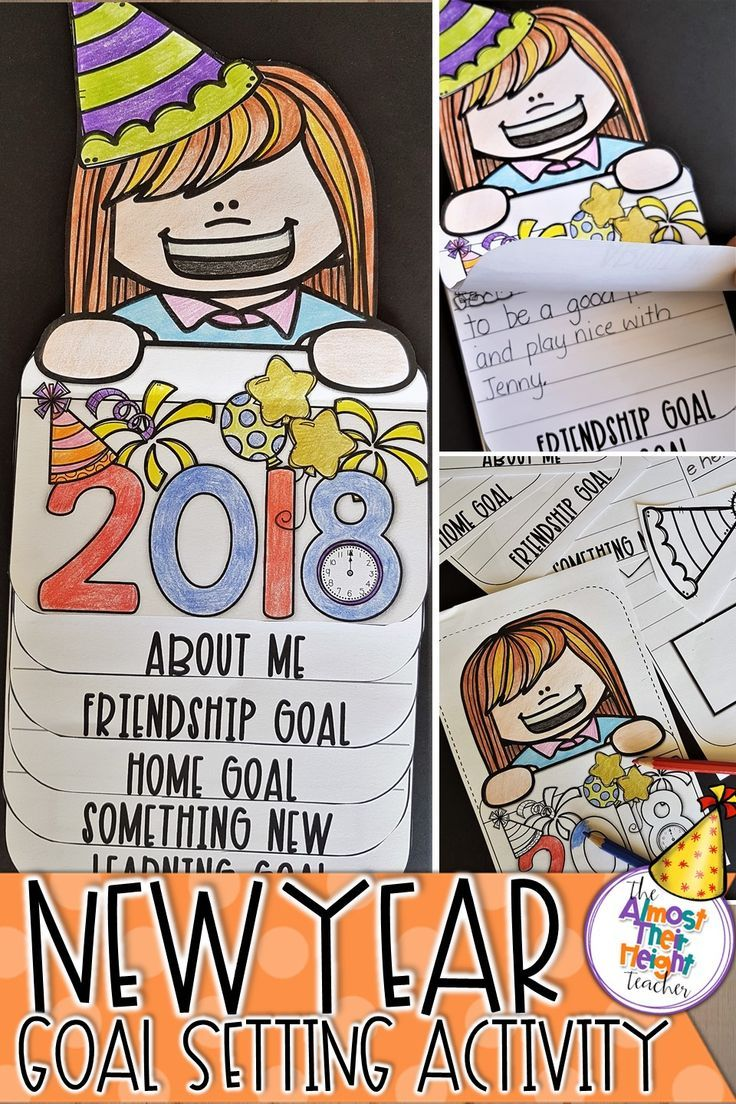 New Years is a great time for our students to stop and reflect on what they want to achieve over the next year.  This 2018 New Years resolution flip book is a great way to do just that.  There are a variety of pages to choose from to suit different age groups and for goal or goals to be set. #newyear2018 #resolutions #2018 #flipbook #goals #goalsetting