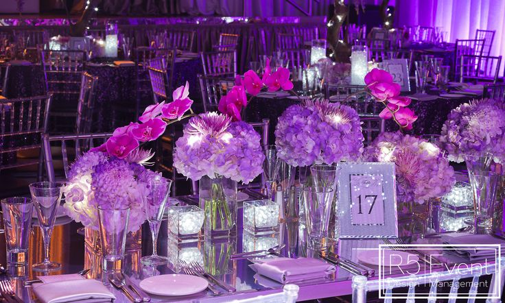 Beautiful Monochromatic Purple Glowing Floral Arrangements! By R5 Event Design