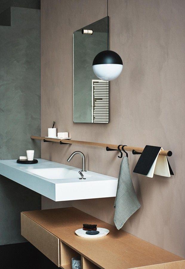 Décor do dia: banheiro minimalista, mas com toques rústicos (Foto: divulgação)