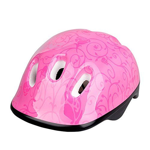 Kids Toddlers Bike Helmet Cycling Riding Biking Skating Roller Skating Helmets Youth Multi-Sports Safty Lovely Bicycle Helmet for Child-Pink Flower *** Read more reviews of the product by visiting the link on the image.