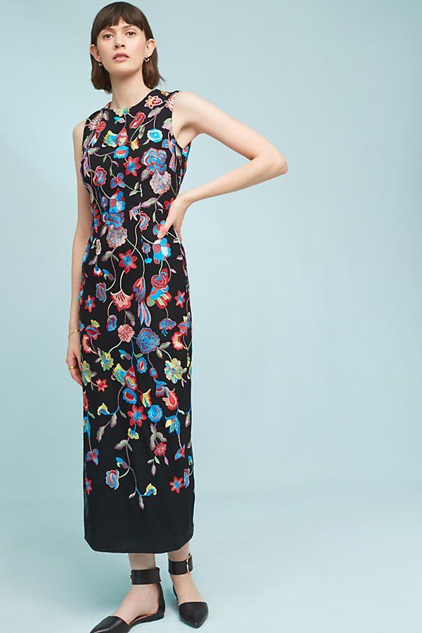 Slide View: 1: Sonya Embroidered Sheath Dress