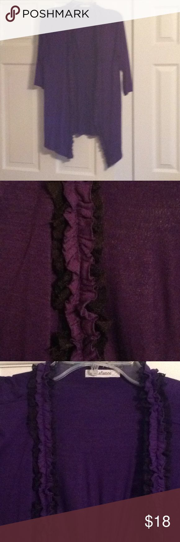 """Pretty dressy jacket Purple and black dressy sweater with 3/4"""" length sleeves. Gathered in back. Purple and black deco design runs length of opening and around neck. Pretty with a back camisole or shell worn under! Lafiance Sweaters Cardigans"""