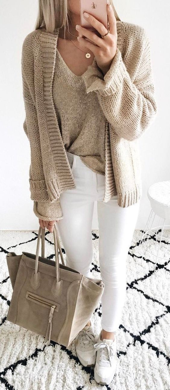white and nude fall inspiration / cardigan + sweater + bag + skinnies +sneakers #fashionfall2017