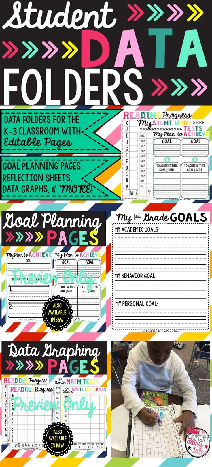 Have your students take charge of their learning by using student data binders. With this data binder students can set goals, come up with a plan to achieve their goal, and track their progress towards their goal(s) in a kid friendly way.