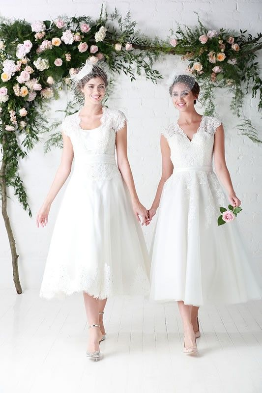 Charlotte Balbier Tea Length Wedding Dresses Winnie & Peggy   #bridal #wedding #weddingdress #weddinggown #bridalgown #engaged #weddingdresses